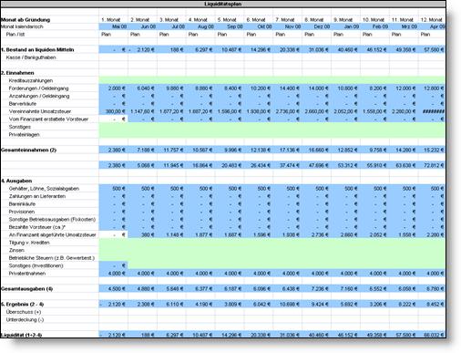 konten und kassenberwachung vom plan zur auswertung - Liquidittsplanung Muster